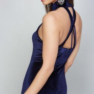 NEW BEBE BLUE VELVET MINDI MOCK NECK DRESS